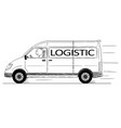 cartoon of fast driving generic delivery van with vector image vector image