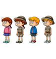 children with dizzy faces vector image