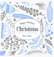 christmas banner template hand drawn greeting vector image vector image
