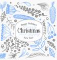 christmas banner template hand drawn greeting vector image