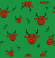 christmas seamless pattern with deer on green vector image vector image