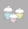 colorful painted cupcakes to creamy caps on a gray vector image