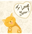 Cute romantic card with tender cat who licks the vector image vector image