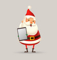 cute santa claus with digital tablet vector image