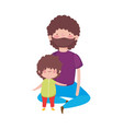 dad and little son sitting characters vector image
