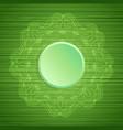 decorative mandala on green striped texture vector image