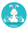 easter painted eggs and adorable chubwhite vector image