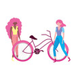 ecology young women with bike transport vector image vector image
