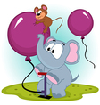 elephant inflating balloon with mouse vector image vector image