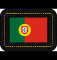 flag of portugal icon on black leather backdrop vector image vector image