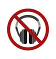 flat a stereo headphone in a prohibition sign vector image vector image