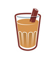 glass of chai with cinnamon vector image