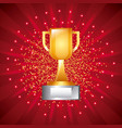 golden trophy cup award prize with pedestal red vector image