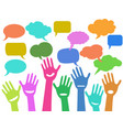 hands with speech bubbles vector image vector image