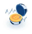 isometric bitcoin inside world globe vector image