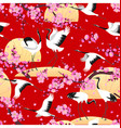japanese cranes and flowering branches pattern vector image