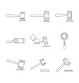 judge hammer icons set outline style vector image