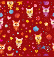 kittens hearts and flowers seamless pattern vector image vector image
