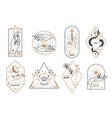 occult line emblems outline women hands with vector image