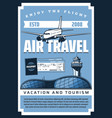 plane airport tickets and passport air travel vector image vector image