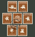 postage stamps on the theme of coffee with animals vector image vector image