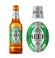 realistic glass beer bottle with label vector image vector image