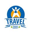 Round logo tourist with a backpack vector image