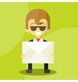 Set of businessman holding letter vector image vector image