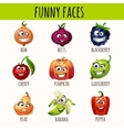Set of expressive fruits berries and vegetables vector image