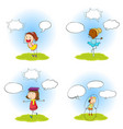 set of kid wtih speech balloon vector image vector image