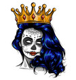 skull girl with a crown vector image vector image