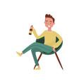 smiling drunk young man cartoon character guy vector image vector image