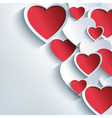 Stylish Valentine background 3d red gray hearts vector image vector image