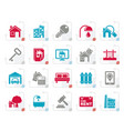 stylized real estate business icons vector image vector image