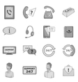 Support service icons set gray monochrome style vector image vector image