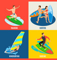 surfing isometric design concept vector image vector image