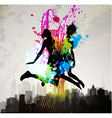 two girls jumping over city vector image vector image