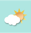white paper cut cloud and sun 3d paper art style vector image vector image