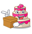 with box wedding cake above wooden cartoon table vector image