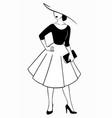 women fashion retro 50 years vector image