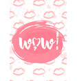 wow lettering with hearts brush pen typography vector image vector image