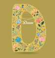 yellow letter d with floral decor and necklace vector image vector image