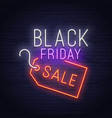 black friday neon sign sale banner logo vector image