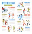Kids Sport Infographics Set vector image