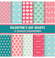 10 Valentines Day Heart Patterns vector image vector image