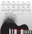 2017 Music Calendar With Notes vector image vector image