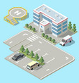 3d isometric hospital ambulance with vector image vector image