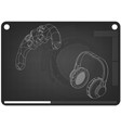 3d model of joystick and headphones on a black vector image vector image