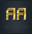 a and a initial golden logo aa - metallic 3d icon vector image