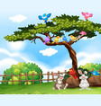 background scene with birds on the tree and vector image vector image